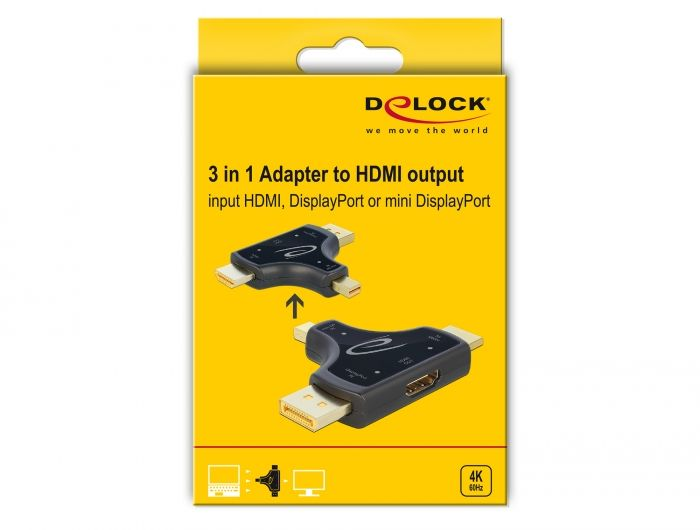DeLock 3 in 1 Monitor Adapter with HDMI / DisplayPort / mini DisplayPort in to HDMI out with 4K 60 Hz (64059)